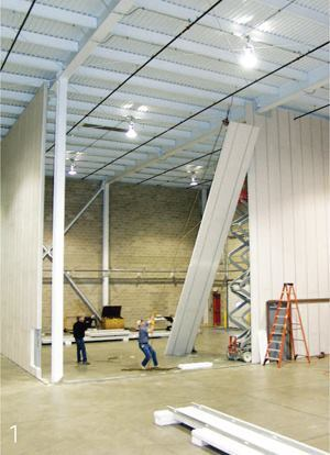 accel-ET steel thermal efficient panel (S.T.E.P.) systemAccelerated Building Technologieswww.accbt.com  Has both climate-control and sound-dampening capabilities    Made of steel framing components fused with expandable polystyrene (EPS)    Panels can be up to 48 feet high    Made of recycled materials and is 100 percent recyclable    May be used for LEED points    Openings can be precut for quick on-site installation