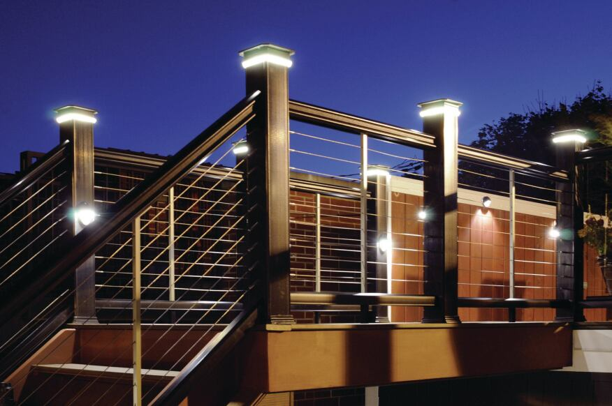 Integrated deck lighting is one of the options that can be used to customize TimberTech RadianceRail composite rail kits (timbertech.com).