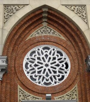 Detailing above the door of the Plum Street Temple