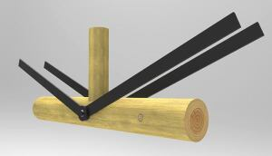 A rendering of WholeTrees' steel–wood connection.