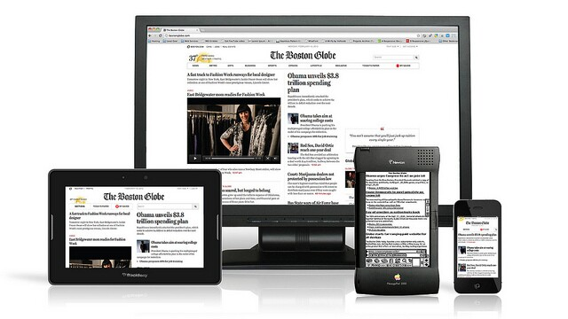 Boston Globe responsive website, featuring Apple Newton. Photo courtesy of Antoine Lefeuvre