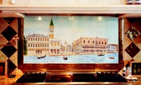 The one-of-a-kind Venice scene was hand-painted by Elsner under glaze in the Majolica method and kiln-fired.