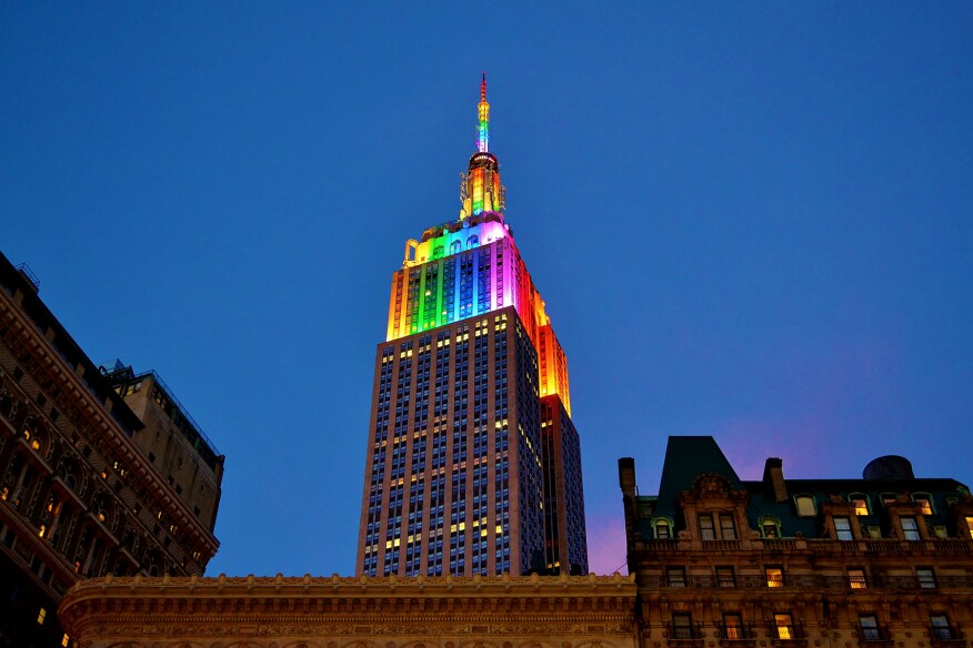 The Empire State Building was lit in rainbow colors from June 28 to June 30, 2014 to show support for New York's Pride Week.