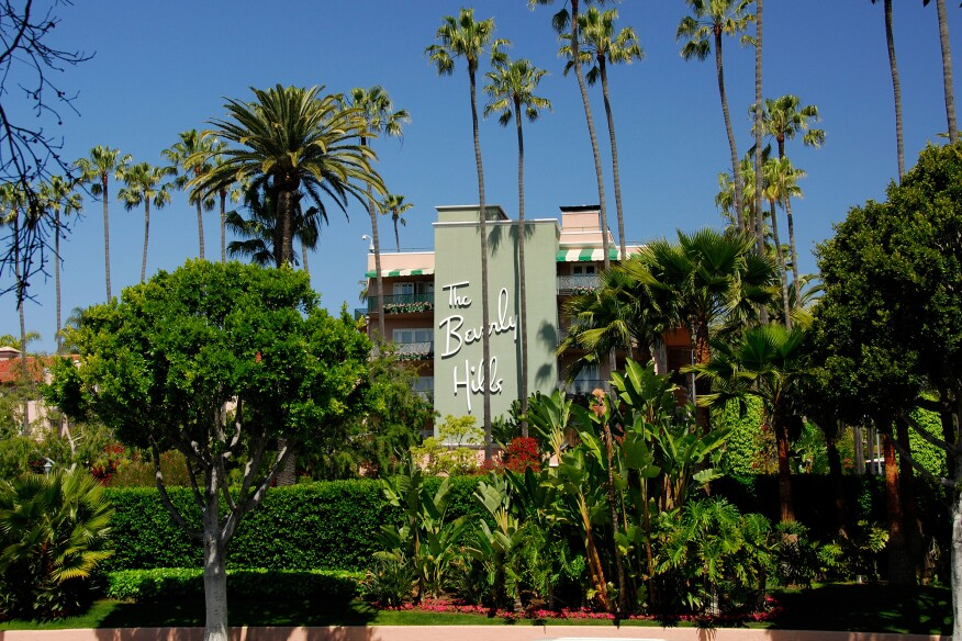 The Beverly Hills Hotel, where Williams designed the Polo Lounge and numerous other additions and renovations to the original building