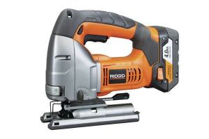 Ridgid R8831BStroke: 1 inch; 0-2,050  Cutting modes: Straight + 4 orbital  Bevel: Tool-free operation  LED light: No  Weight w/battery (by ToTT): 7.48 lbs  Web price (bare; kit): $119; n/a  Kit includes: Sold bare only  Country of origin: China  Pros: Excellent runtime; large two-finger trigger; tool-free bevel lock with stops every 15 degrees; strongly resembles Milwaukee saw; manufactured by AEG, sister company to Milwaukee  Cons: Second-heaviest tool; below-average cutting speed; blade must be pushed all the way to the back of the clamp or it will be held skewed to the base; safety must be depressed to operate trigger