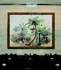 The Tropical Palm 1 mural is a Studiotiles limited edition designed by Elsner.