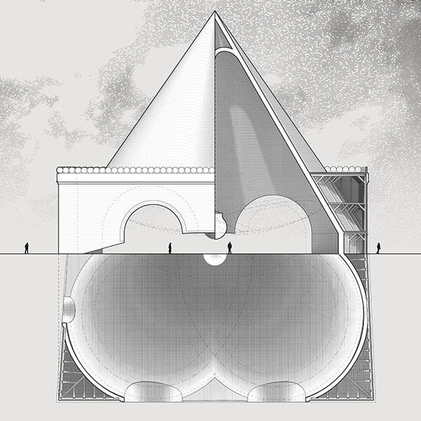 """""""The Monument to Bruce"""" was an edifice to a wrecking ball that, following the demolition, would become a pendulum eternally tracing the quatrefoil outline of the building it destroyed."""