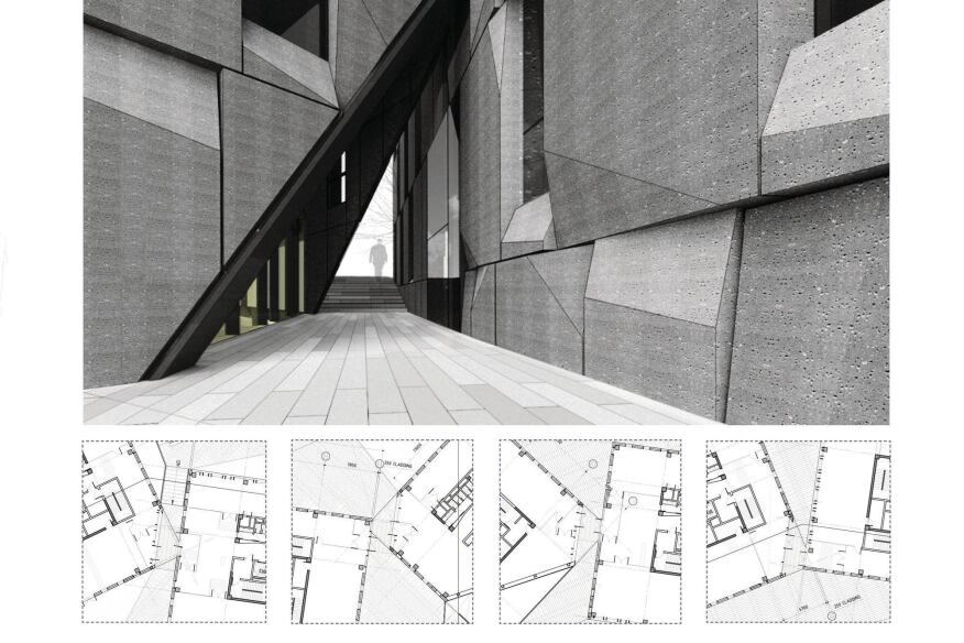 Slices allow passage between building volumes and continuity of the ground plane.