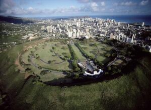 The National Memorial Cemetery of the Pacific, located in Punchbowl Crater, overlooks downtown Honolulu.