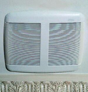 FAN APPRECIATION: Bath fans should be neither seen nor heard, which is why the design team opted  for Broan's Silent Bath ventilation fans. Energy Star–rated to conserve  energy, the units move 110 cubic feet of air per minute and operate  at a low 1.3 sones. Plus, the 13-inch-by-14-inch grill's low profile does not  call attention to itself.