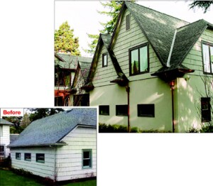 Neil Kelly Designers/Remodelers used gables to maintain continuity between the old house and the new addition.