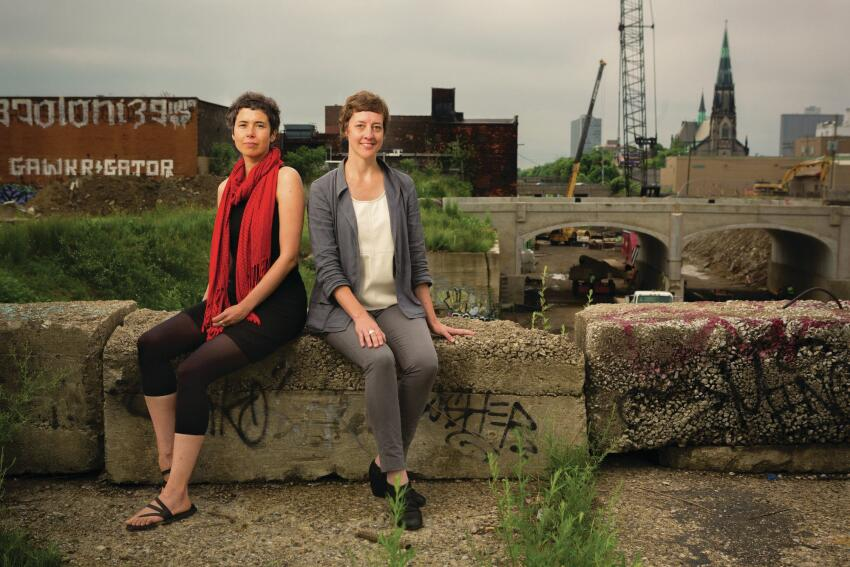 María Arquero de Alarcón (left) and Jen Maigret near the site of their speculative project that proposes to connect Detroit's Eastern Market to the Dequindre Cut, an abandoned railway that's being turned into a public greenway.