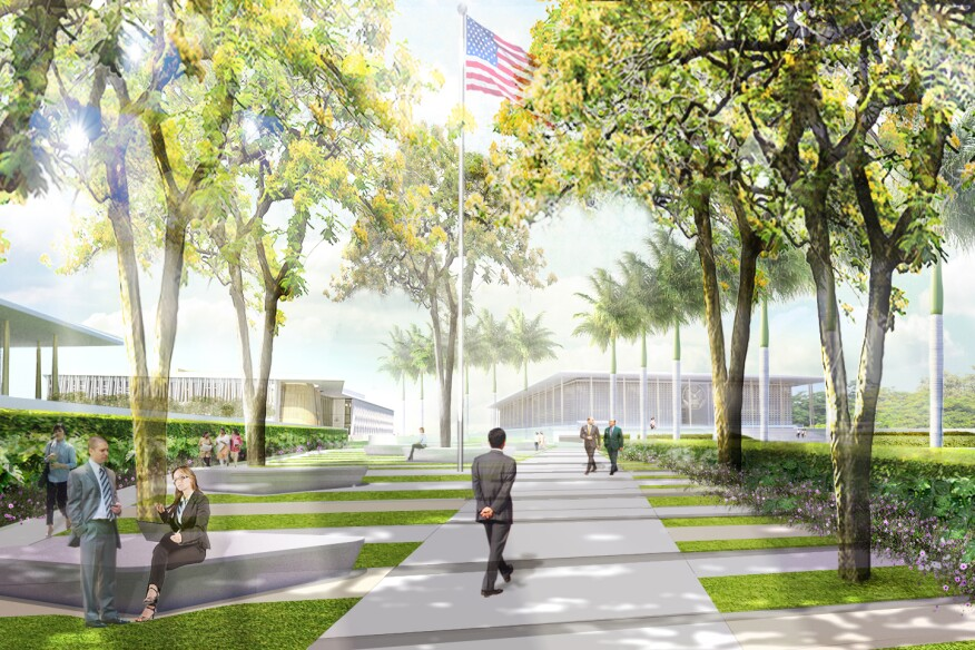 Excellence approach rendering for the entrance to the U.S. Embassy in New Delhi by architecture firm Weiss/Manfredi