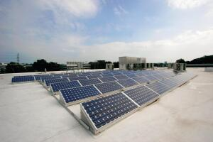 A rooftop solar array consisting of 170-watt photovoltaic modules, donated by Atlanta-based Georgia Power/Southern Co., produces electricity during daylight hours and feeds energy back into the existing grid.
