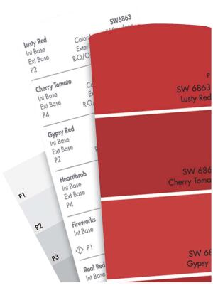 Concepts in Color paint palette    Sherwin-Williamswww.sherwin-williams.com  250 new colors, 25 shades each in red, blue, green, yellow, and orange families - 125 new neutrals 10 color families - New standard paint chip design measures 3 inches by 5 inches - Perforated chipviewing window allows better comparison with coordinating fabrics and finishes