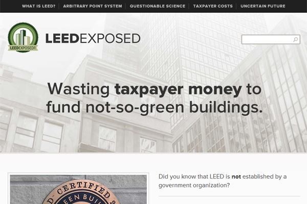 Screenshot of LEED Exposed website