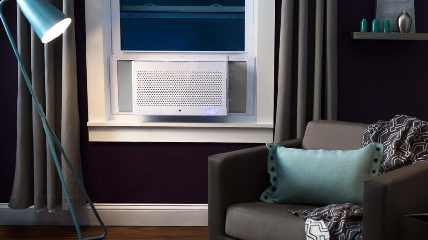 Aros, an Internet-enabled air-cooling unit, was developed through a partnership between GE and smart-devices maker Quirky.
