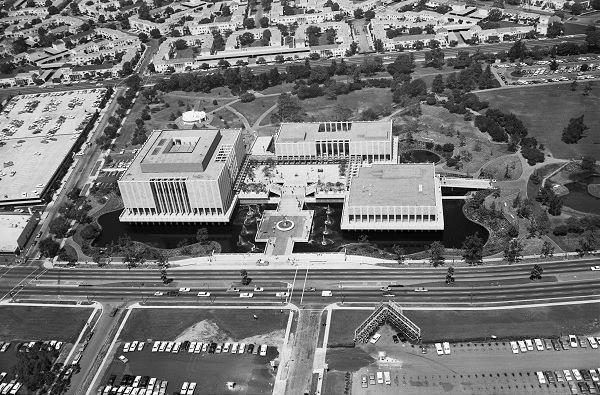 The original Los Angeles Count Museum of Art campus, designed by William L. Pereira and Associates in 1965.