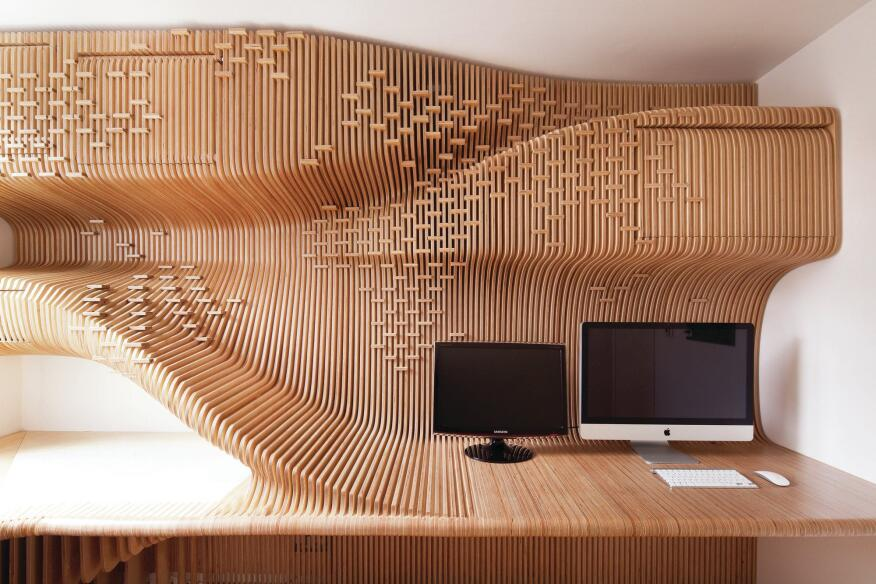 Chelsea Workspace is a 75-square-foot home office in London digitally designed and fabricated by SDA.