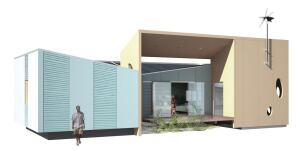 Oceansafe steel SIPs, which consist of an EPS foam core sandwiched between 25-gauge Galvalume sheets, deliver an R-value around 4 per inch.    The central living room connects to the rear covered courtyard via sliding polycarbonate panels, extending the usable space. Sliding SIPs panels on the front side also open for cross-ventilation.