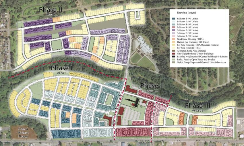 Salishan 7 (pink, bottom right) is the final rental phase of the Salishan community.