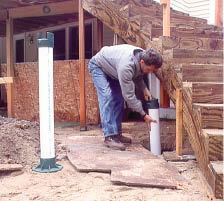 Figure 16. Support the stringers with posts placed on footings.