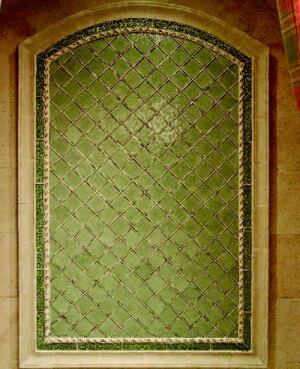TILE STYLE: Crossville tiles create a large variety of vibrant surfaces throughout the  house. The upstairs princess bath, for example, features elements of the company's  Illuminessence Radiance collection of cast glass tile. Designed to  emulate the quality of light on water, the tiles measure 3 inches by 6 inches  or are available in 1-inch-by-1-inch sheets and come in colored, clear, and  frosted finishes.