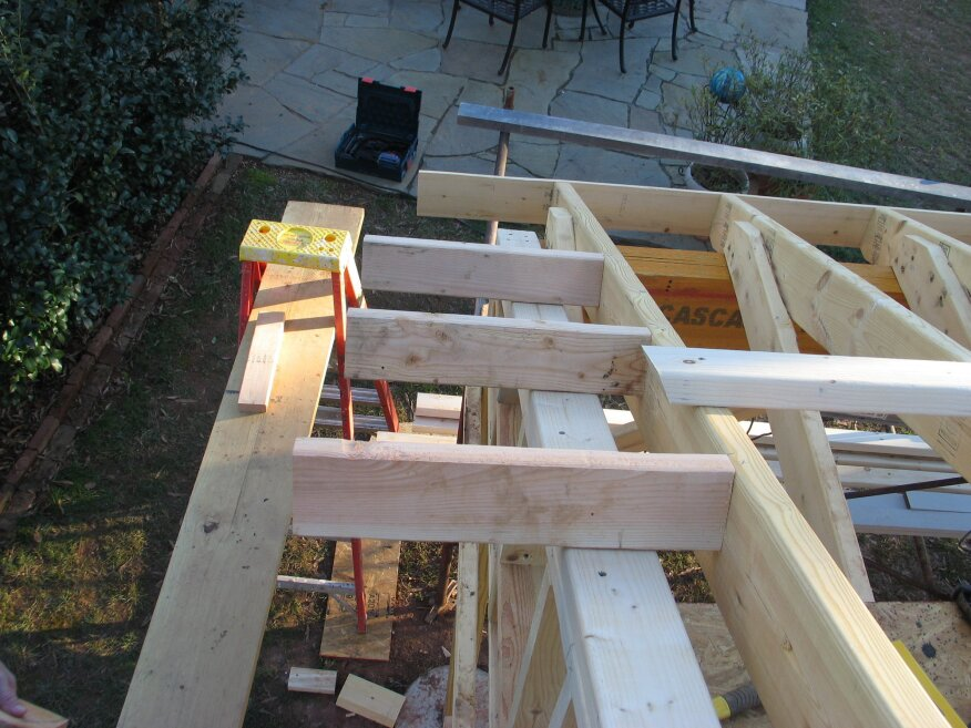 2x4 lookouts sit on top of the dropped gable, with the ends left long. They nail to the first rafter and then cantilever out to support the barge rafter. A snapped line across the ends of the lookouts ensures that the barge rafter will be perfectly straight.