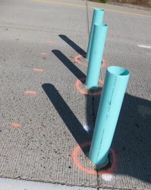 Cores drilled at pavement joints allowed direct infiltration testing on in-service pavements.