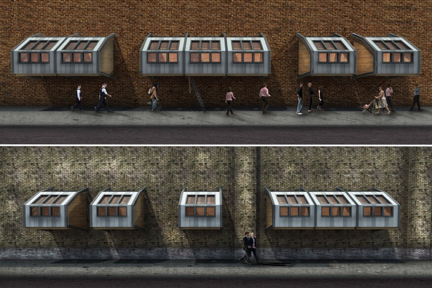 Architect James Furzer designed static pods which could be 