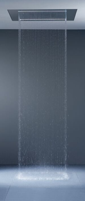 "expected showers  No umbrella is required for the RainSkyM shower panel. Bathers select ""invigorating downpour"" to wake up or ""tranquil mist"" for winding down. Three spray options operate individually or in combination, and temperature calibrates to the exact degree. Integrated into the ceiling, stainless steel panels measure 40-1/4 by 31-1/2 inches and come in brushed or polished finishes. Dornbracht, 800.774.1181; www.dornbracht.com"
