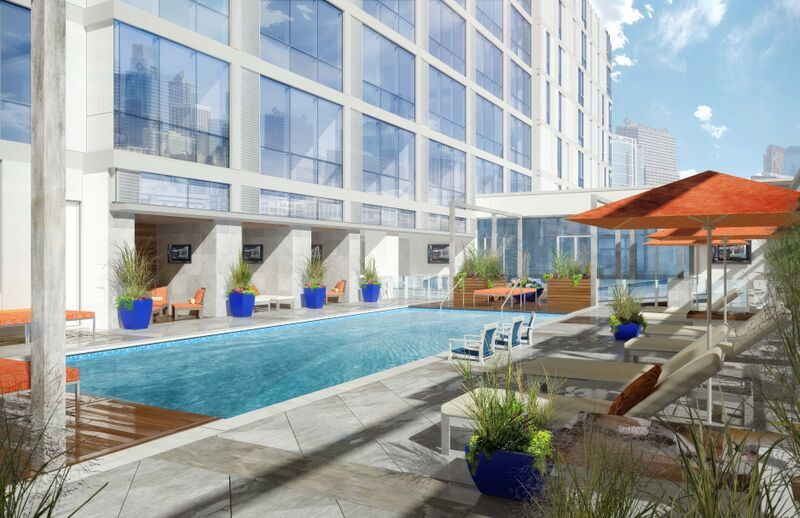 The property's resort-style saltwaterrooftoppool is one of a multitude of amenities aimed at millennials.