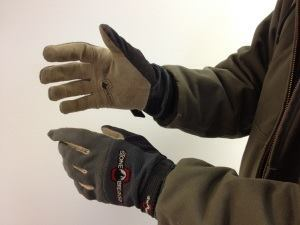 StoneBreaker Nailbender gloves. After several months of use, the goatskin leather palms show little wear.