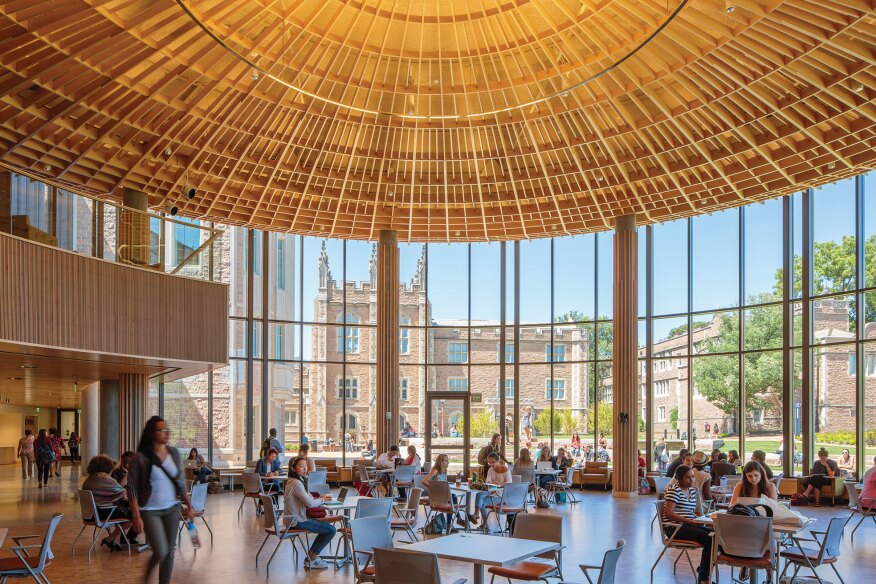 During the day, the forum is a light-filled space that welcomes the entire WashU campus.