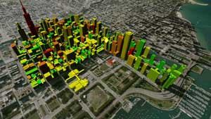 Chicago Central Area DeCarbonization Plan rendering by Adrian Smith + Gordon Gill Architecture