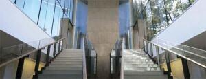 Clerestory windows in the below-grade areas ensure the subterranean galleries recieve some daylight.