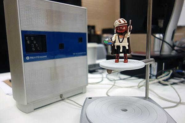 Our Playmobile figurine of 15th century German painter Albrecht Dürer following a a successful run through the NextEngine 3D scanner at the Martin Luther King Jr. Memorial Library in Washington, D.C.