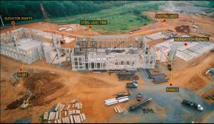 An aerial view of the construction in-process of the Wells Fargo facility.