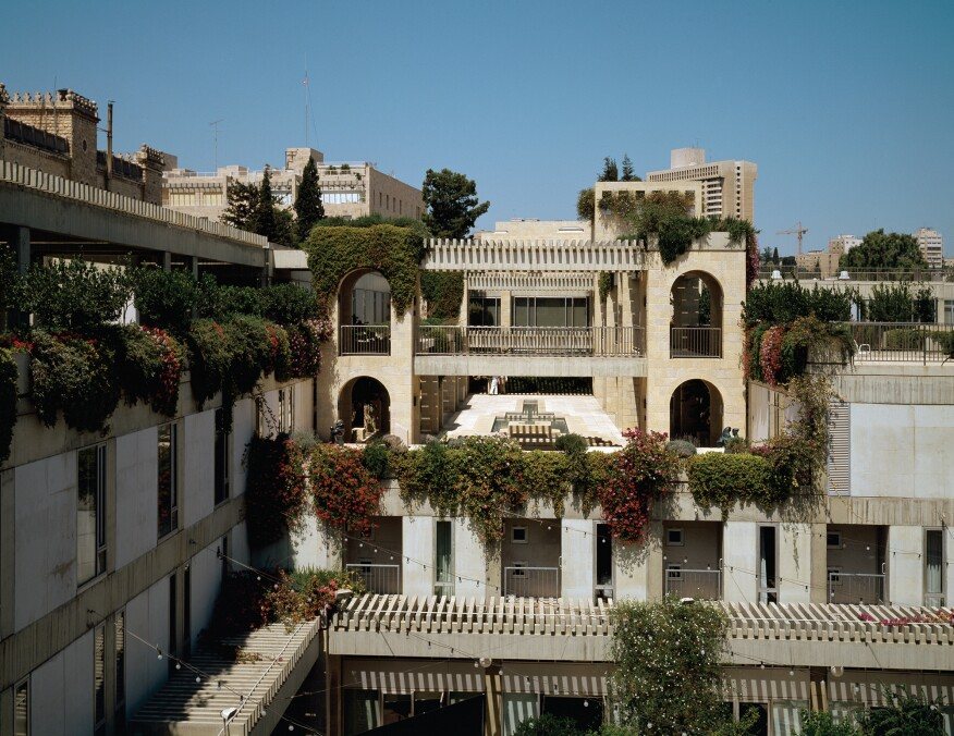 View of the courtyard at Hebrew Union College in Jerusalem.