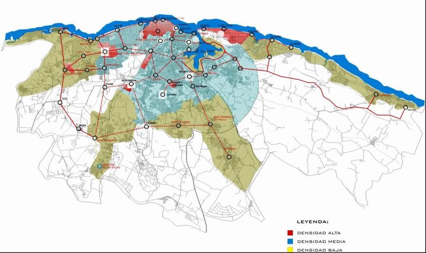A density map fromPérez Hernández's Havana master plan project