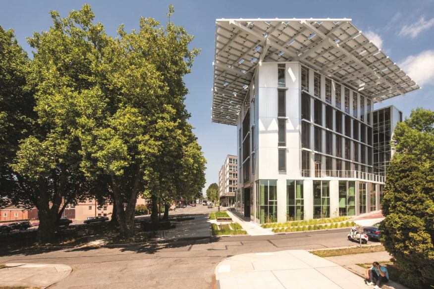The Bullitt Center, in Seattle, plans to achieve 100 percent on-site renewable energy, water, and waste management.