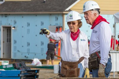 Hard Hats: The former President and First Lady on site.