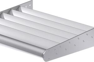 Airolite's sun control products now include nine models in widely used blade designs, including airfoil (shown), fan, rectangular tube, and louver zee blades. The shading devices block as much as 80% of the sun's heat and glare. Suitable for atriums, walkways, skylights, reception areas, and work spaces, they are manufactured from extruded aluminum and available in a variety of finishes. airolite.com