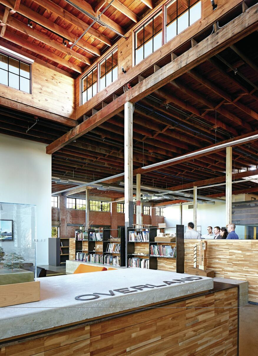 The Overland Partners offices capitalize on the open plan of a former plumbing warehouse to cultivate a collaborative work environment.