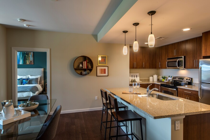 Winn's Quarrystone at Overlook Ridge, in Malden, Mass., offers renters a choice of wood and granite tones in the unit kitchens.