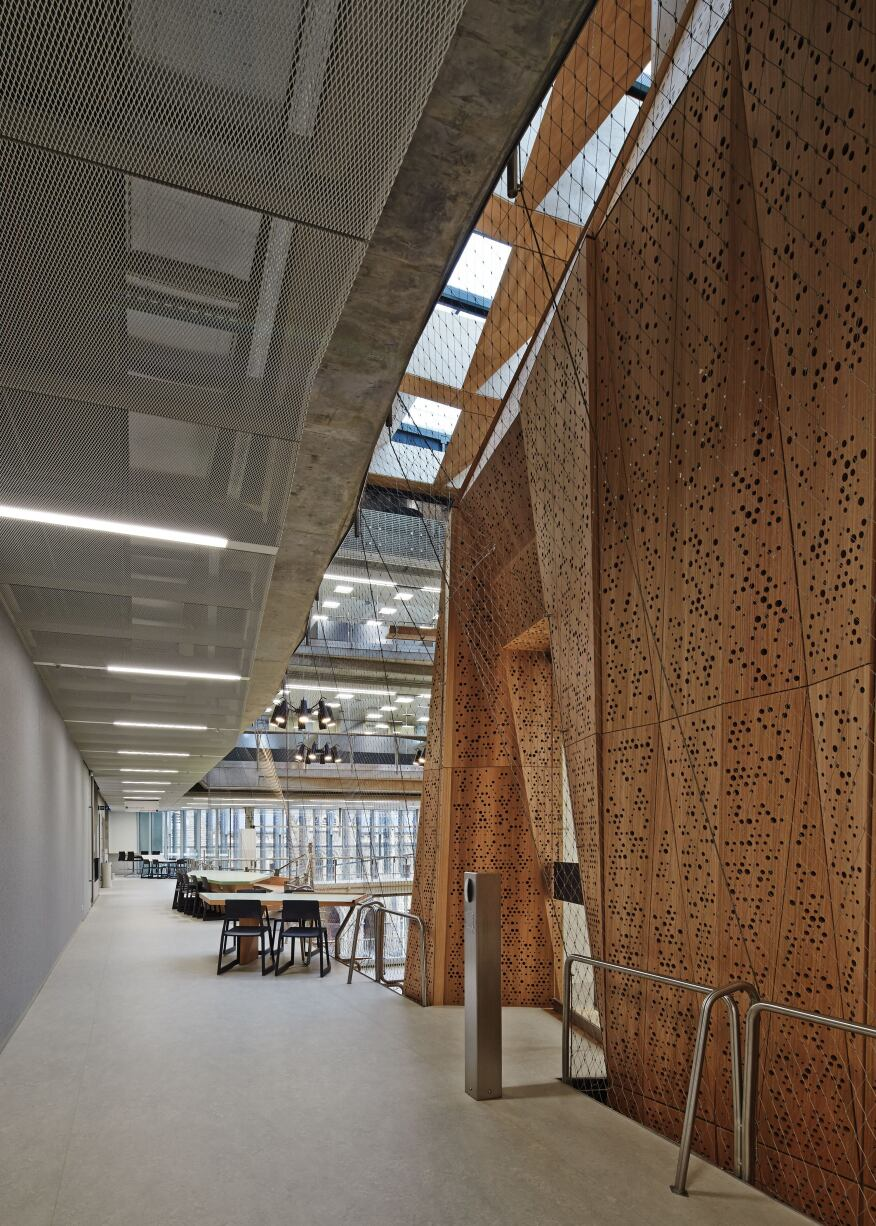 Around the entrances to the Suspended Studio on the upper levels are open work areas where students can collaborate.