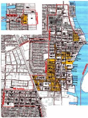 ON THE MARKET: The properties highlighted in yellow are set to be acquired for the redevelopment of Riviera Beach, Fla. Opponents have criticized a city study calling the entire area blighted; some of the parcels contained houses built as recently as two years before the study was done.