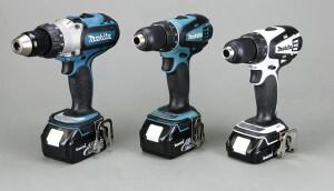 Makita makes three 18-volt drills — a heavy-duty model and two compact models. The compact models (center and right) are nearly identical. The blue version (LXFD01) has a long belt hook and ships with 3.0-Ah battery packs, while the white one (LXFD01CW)has a short belt hook and includes 1.5-Ah packs. Either compact tool can use either pack, but the 1.5-amp-hour packs do not fit the heavy-duty model.