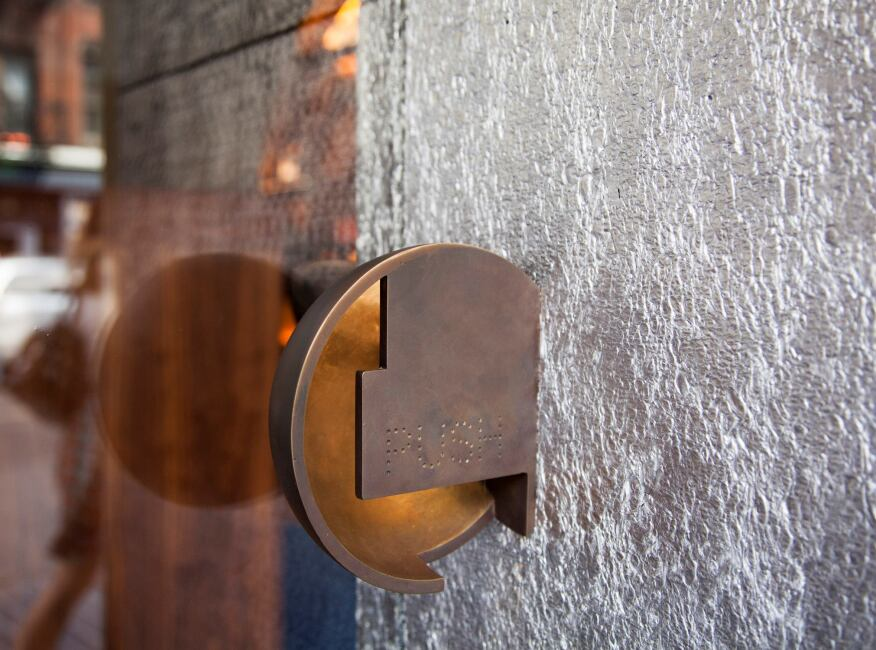 Custom bronze door hardware.