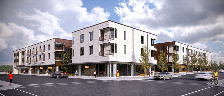 A street-view rendering of Fourth &, which is slated for completion next summer.